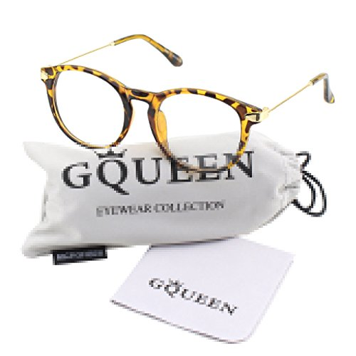 Glasses Queen 201588 Fashion Oval Horn Rimmed Keyhole Metal Temple Clear Lens Glasses,Mixed Yellow