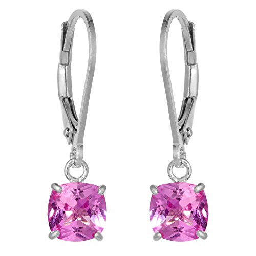 - 6MM Cushion Pink Sapphire Sterling Silver Leverback Earrings