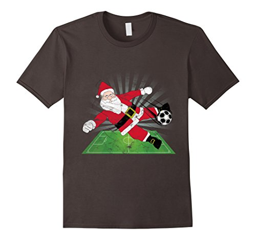 Mens Santa Claus Kicking a Soccer ball T-Shirt 3XL Asphalt - Kicking Santa