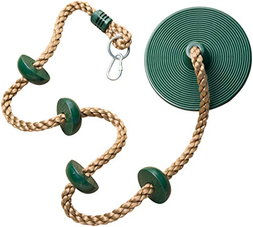 (Jungle Gym Kingdom Climbing Rope with Platforms and Disc Swing Seat Green - Playground Accessories)