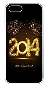 iPhone 5 5S Case 2114 Happy New Year Fireworks1 PC Custom iPhone 5 5S Case Cover White