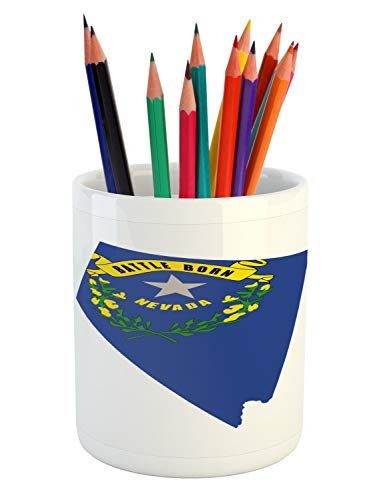 Lunarable Nevada Pencil Pen Holder, Layout of State Map with Flag Grey Star Flowers and Sagebrush, Printed Ceramic Pencil Pen Holder for Desk Office Accessory, Cobalt Blue Yellow Green