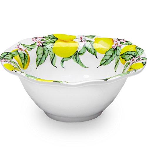 Q Squared Limonata BPA-Free Melamine Dip Bowl, 5-Inches, Set of 4, White, Yellow, Green, Pink (Fiesta Round Chip Dip Tray)