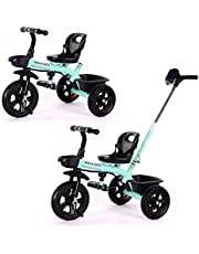 2 in 1 Kids Push Along Tricycle Baby Toddler Trike Bike 3 Wheel Ride On Toy Children Infant Stroller Parent Handle Comfortable Seat Large Foldable Pedal