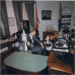 HistoricalFindings Photo: Halloween Visitors to The Oval Office. Caroline Kennedy, President Kennedy, John F. Kennedy, Jr. White House, Oval Office, 10\/31\/1963 -