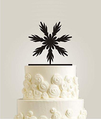 Winter Snowflake Cake Toppers Romantic Holiday Wedding Cake Toppers Elegant Christmas Custom Cake Decorations Amazon Co Uk Kitchen Home