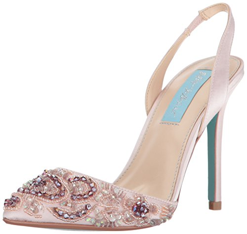 Blue by Betsey Johnson Women's SB-Sonia Dress Pump, Blush Satin, 10 M US by Betsey Johnson