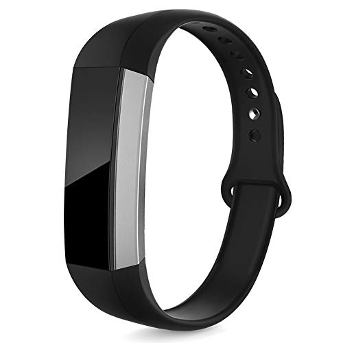 NAHAI Bands Compatible with Fitbit Alta/Fitbit Alta HR/Ace, Soft Silicone Replacement Bands Adjustable Sport Strap Wristbands Accessories for Fitbit Alta/Ace, Women Men, Small, Black
