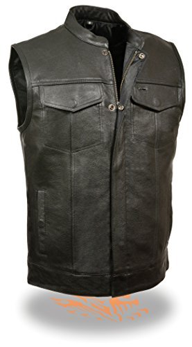 Men's SOA Club Cut Motorcycle Vest w/ Snap & Zipper Front Closure, Single Panel Back & Dual Inside Gun Pockets (Collarless & W/ Collar) (Medium, With Collar)