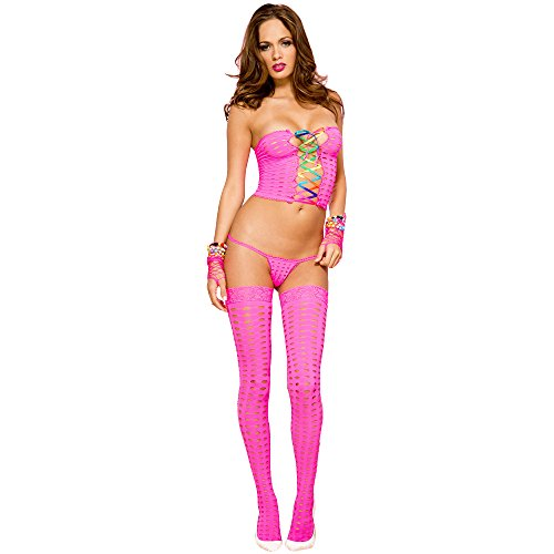 [Rave Wonderland Women's Neon Pink Crochet Lace Up Rainbow Outfit One Size] (Neon Outfits)