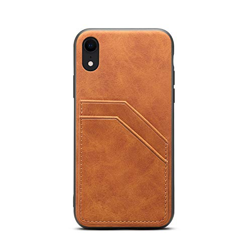 TACOO Slim Case for iPhone XR 2018,TACOO Leather Soft PU Khaki Protective Credit Card Slot Holder Men Women Girl Durable Cover Shell Compatible with Apple iPhone XR 6.1 -