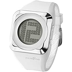 ZERONE HD White Silver Digital Watch Hidden Digital