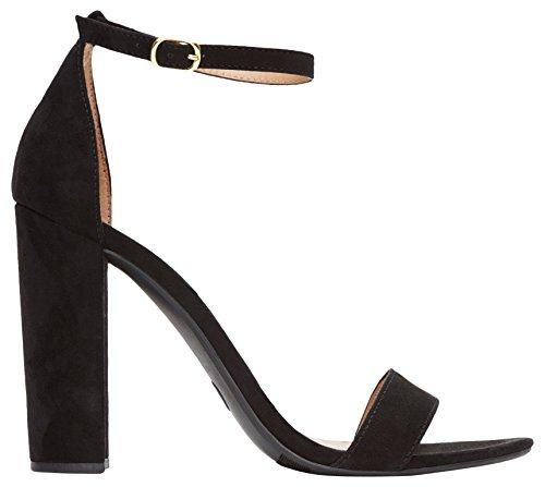 Rohb by Joyce Azria Monaco High Block Heel Ankle Strap Sandal (Black) Size 7.5