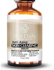 Skin Daily Anti Aging Skin Clearing Serum + 20% Vitamin C, Tea Tree Oil, Niacinamide, Retinol, Salicylic Acid and MSM | Moisturizer, Clears Adult Acne, Age Spots, Scars, Rosacea, Blackheads, Pimples