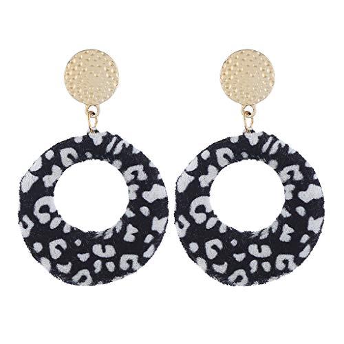 (Leopard Drop Earring for Women Animal Print Leather Fur Dangle Round Metal Disc Studs Earring)