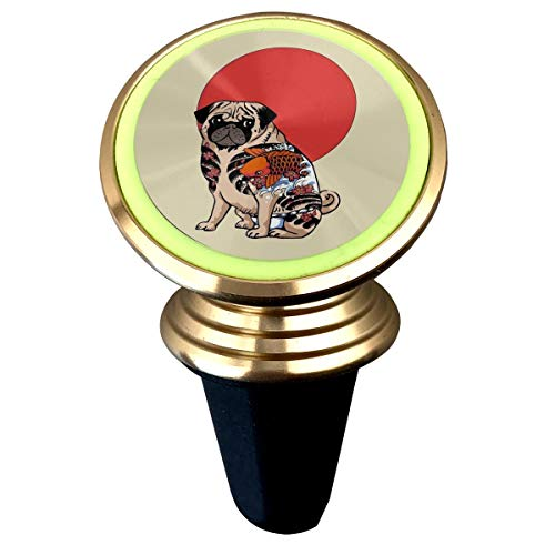 (Tattoo Pug Ruffian Magnetic Phone Car Mount Universal iPhone Car Holder Strong Magnets Vehicle Vent Cradle Stand Mounts Mobile Phone GPS Mini Noctilucent Kits)