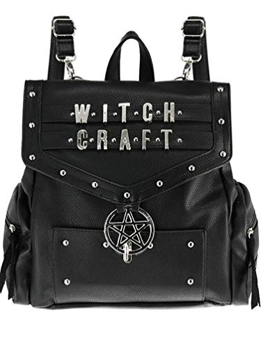 Restyle Witchcraft Goth School Uni Backpack Pentagram Faux Fur Vegan Leather Bag - Faux Leather