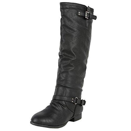 TOP Moda Women's Coco 1 Knee High Riding Boot (12, Premium Midnight Black)