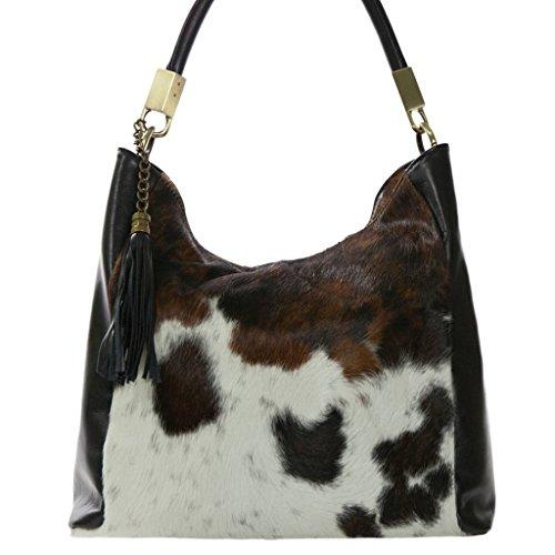 NOVARA Shoulder Bag Exclusive Italian Leather / Pony Hide Carelli Italia, with Cow (Cow Hide Bag)