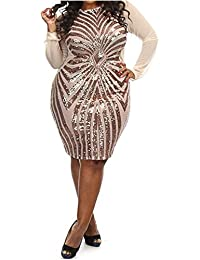 Women's Plus-Size Dress Diamond Pattern Gauze Sequined...