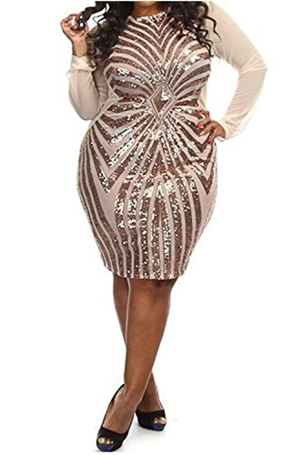 Women's Plus-Size Diamond Pattern Gauze Sequined Bodycon Cocktail Dress, Champagne, 3X (Diamond Dresses For Women)