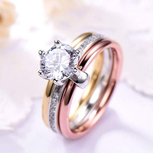 Amazon Com Solid 14k White Yellow Rose Gold 3 Color Gold Cz
