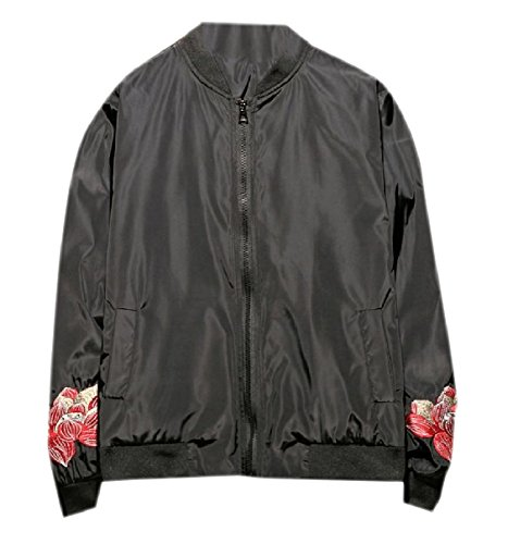 Howme Men Full Zip Embroidered Wild Mandarin Collar Relaxed-Fit Coats Jacket Black ()