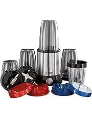 Russell Hobbs NutriBoost blender kit, 700W, 2 olika knivar (2 blad och 4 blad) i rostfritt stål, 5st BPA-fria behållare + lock, 22000varv/min, shakerlock, diskmaskinssäkra delar, 23180-56