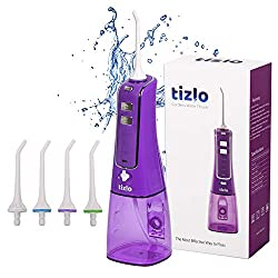Water Flosser Cordless 10oz 300ml Rechargeable Portable 3 Modes For Brighter and Healthier Teeth IPX7 Technology Dental Waterjet - 4 Tips (Purple)