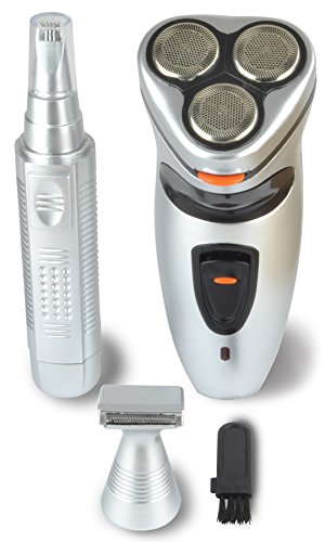 3 Piece Cordless Shaver Kit With 3 Head Rechargeable Foil Shaver With Bonus Travel Carrying Case Nose Trimmer And Sideburn Trimmer