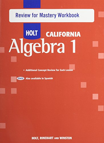 Holt Algebra 1: Review for Mastery Workbook Algebra 1