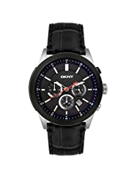DKNY Leather Collection Crocodile Graining Black Dial Men's Watch #NY1420