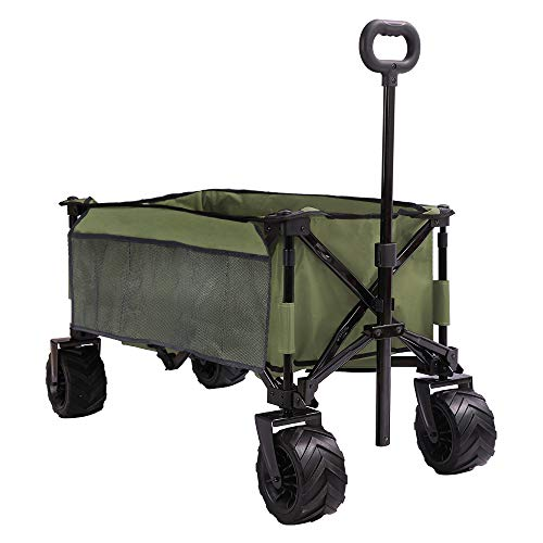 PATIO GUARDER Folding Collapsible Wagon Cart, All Terrain Utility Wagon, Heavy Duty Outdoor Garden Wagon with wheels - Perfect Use for Camping, Shopping, Picnic, Sports, Army Green