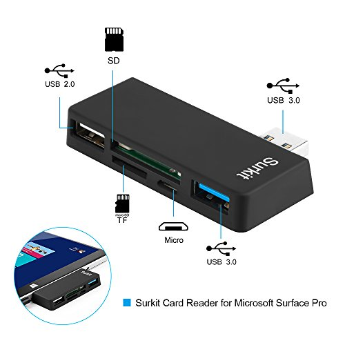 Surface Pro Hub Adapter/Card Reader, High Speed USB 3.0 Transport and USB 2.0 for Mouse or Keyboard with SD(HC) Card Slot and TF Card Reader for Microsoft Surface Pro 3/4 by Opluz (Image #1)