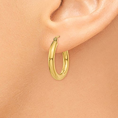 """Designs by Nathan, Classic 14K Yellow Gold Tube Hoop Earrings: Seamless, Hollow, and Lightweight (Wide 3mm x 20mm (about 3/4"""")) by Designs by Nathan (Image #2)"""