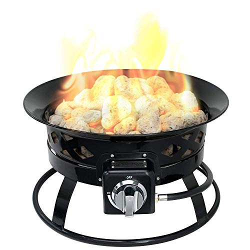 Sunward Portable Outdoor Patio Propane Fire Pit with 19-Inch Fire Bowl, Includes Lava Rocks, Lid, Carry Handle and Weather Resistant Bag, 58,000 - Electric Compare Heaters Water