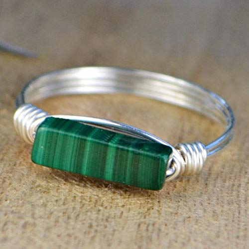 Malachite Rectangle Gemstone Wire Wrapped Stacking Sterling Silver or Gold Filled Wire Wrapped Ring- Custom made to size 4-14