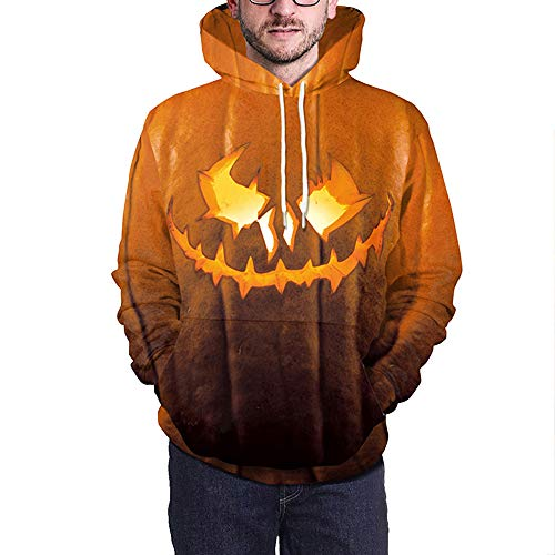 kaifongfu Mens Long Sleeve Sweater Top with Scary Halloween Pumpkin 5D Print for Party (Orange,2XL) -