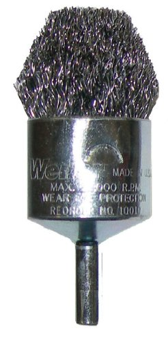 Weiler Steel Cup Brush - Shank Attachment - 1 in Dia - 0.02 in Bristle Dia & 22000 Max RPM - Brush Style: Controlled Flare - 10311 [PRICE is per BRUSH]