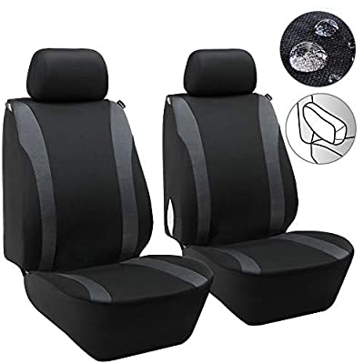 Elantrip Waterproof Front Seat Covers Car Water Repellent Bucket Seat Cover Universal Fit Airbag Armrest Compatible for Auto SUV Truck Van, Black and Grey 2 PC: Automotive