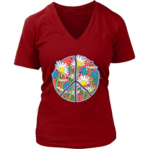 Floral Peace Sign T-Shirt - Retro Daisy Flowers Tee - Womens Plus Size up to 4X
