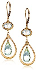 Dana Kellin Gold-Filled Green Quartz and Amethyst Drop Earrings