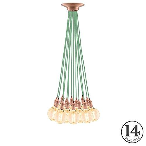 Eclectic Pendant Light Fixture. Eclectic Mint w/ Vintage Copper 14...