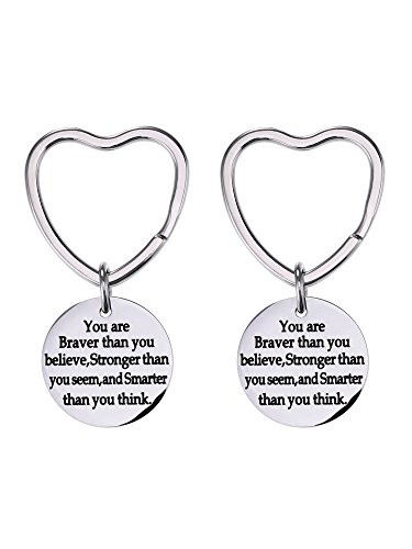 Mtlee 2 Pack You Are Braver Stronger Smarter Than You Think Keychain, Key Chain Ring Inspirational Gift for Men Women