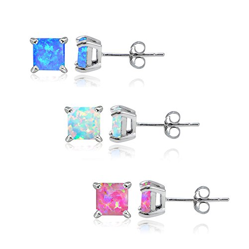 Sterling Silver Created White Pink and Blue Opal 5x5mm Square Stud Earrings, Set of 3 Pairs