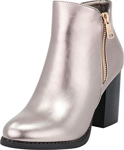 Cambridge Select Women's Closed Toe Side Zip Chunky Stacked Block Heel Ankle Bootie,8.5 B(M) US,Pewter Metallic PU ()