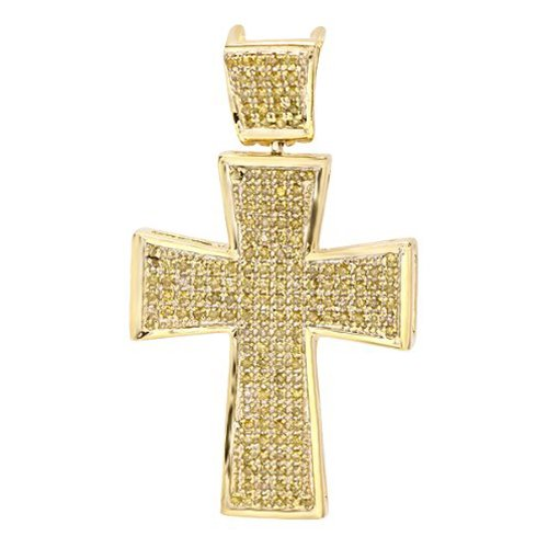 0.50 Carat (ctw) 18k Yellow Gold Plated Sterling Silver Micro Pave Diamond Mens Religious Cross Pendant