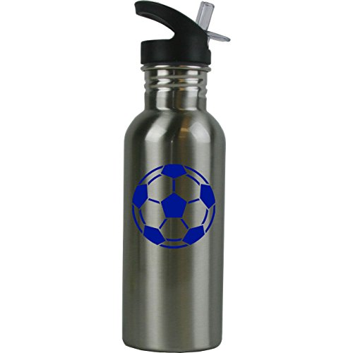 Personalized Custom Soccer Ball Stainless Steel Water Bottle with Straw Top Lid 20-Ounce Water Bottle Customizable (Blue)