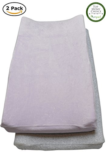 Changing Pad Cover Set, 2 Pack Ultra Plush Cotton Blend Change Pad Covers for Girls and Boys (Purple & Grey)