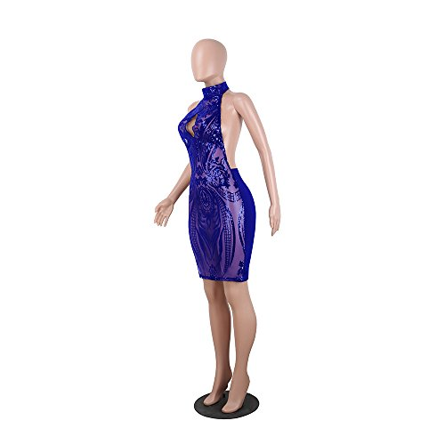Halter Royal See Acelyn Women's Sexy Club Blue Through Sequins Backless Mini Floral Dress Bodycon fpHEq